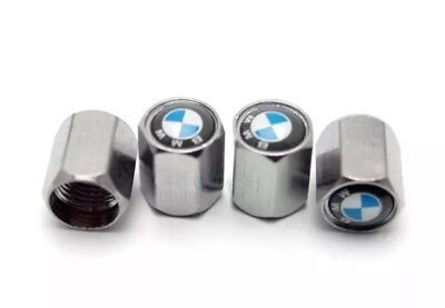 4pcs/Set BMW Blue And White  Metal Chrome Tyre Valve Dust Cap