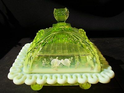 EAPG Northwood Glass Canary Vaseline Opalescent Alaska Covered Butter Decorated