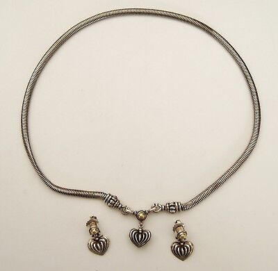 Sterling 18K LAGOS CAVIAR Fluted Heart Drop Dangle Necklace w/ Matching Earrings
