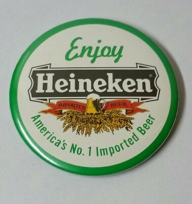 Vintage Heineken Beer Button Pin 3""