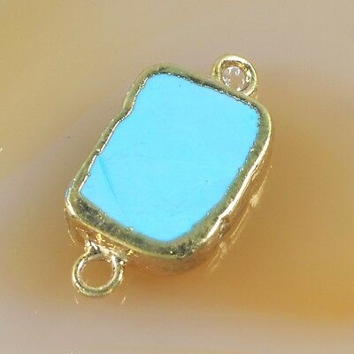 Blue Howlite Turquoise Connector Gold Plated B039286