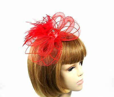 Red Loop Fascinator Headband-Clip On Rhinestone Feathers Pearls Red Hat Ladies