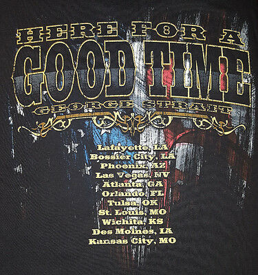 George Strait 2011 Large T Shirt Here For A Good Time Tour Concert Black OOP