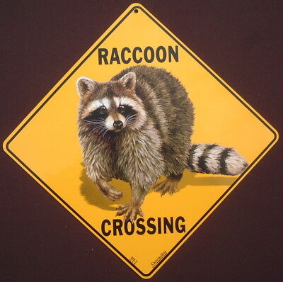 RACCOON CROSSING SIGN aluminum decor novelty raccoons wildlife animals print
