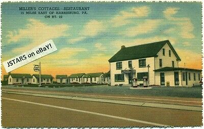 c. 1949 GRANTVILLE, PA, MILLER'S COTAGES AND RESTAURANT VIEW POSTCARD