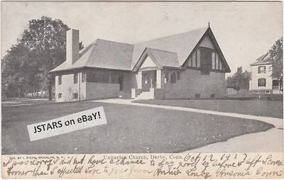 c. 1906 DERBY, CT, UNITARIAN CHURCH VIEW POSTCARD UBPC