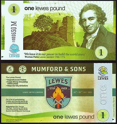 """England/ Lewes - £1 Banknote, Limited Edition for the """"Mumford and Sons"""" concert"""