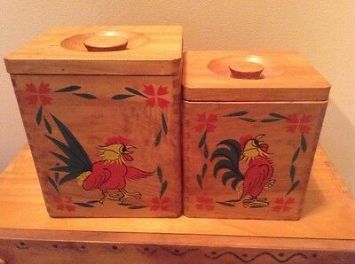 Vintage Woodpeckers woodware rooster cannister set