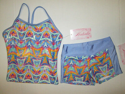 NEW Top Shorts Set Size IC (6-7) Child Lot of 2 Dance Gymnastics SC Natalie Blue