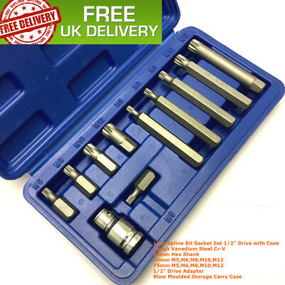 "11pc Spline Bit Set 1/2"" Socket M5 M6 M8 M10 M12 KIT & CASE LONG & SHORT REACH"