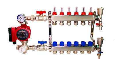 Water Underfloor Heating Manifolds Complete Kit 2-12 Ports + Grundfos Pump Pack