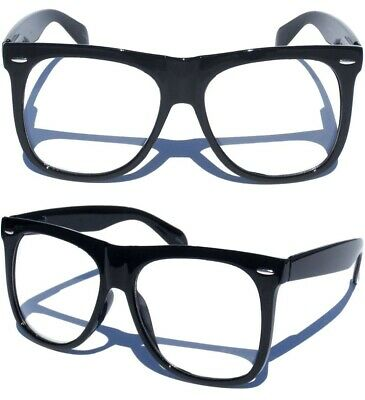 OVERSIZE LARGE Horn Rim RETRO GLASSES CLEAR LENS BLACK FRAME Hipster Nerd Big