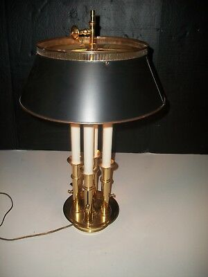 VINTAGE FRENCH  HEAVY BRASS - w- TOLEWARE SHADE  4 CANDLESTICK BOUILLOTTE LAMP