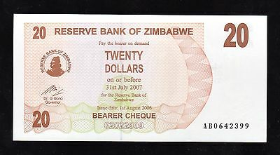 Bank Note World From Zimbabwe In Africa, 1 Bearer Cheque Of $20, P-40, 2006 Unc