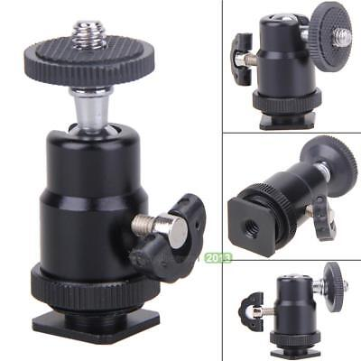 Flash Bracket Holder Mount 1/4 Hot Shoe Adapter Ball Head with Lock Accessory