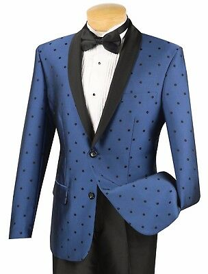Men's Blue Polka Dot 1 Button Slim-Fit Tuxedo Suit w/ Satin Shawl Lapel NEW