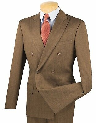 Men's Taupe Herringbone Stripe Double Breasted 6 Button Slim-Fit Suit NEW