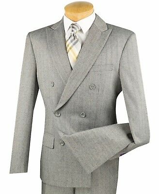 Men's Gray Herringbone Stripe Double Breasted 6 Button Slim-Fit Suit NEW