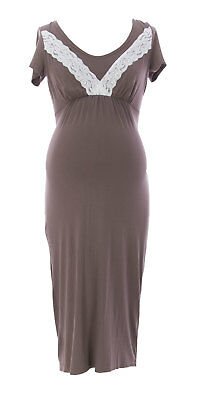 9FASHION Maternity Women's Nelly Cappuccino Nursing Gown Sz S $79 NEW
