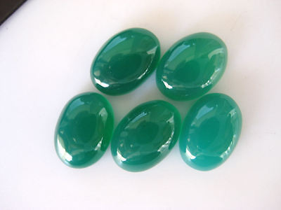 10 Pieces Oval Shaped Green Onyx Cabochons Smooth Flat Back Gemstones - BB233