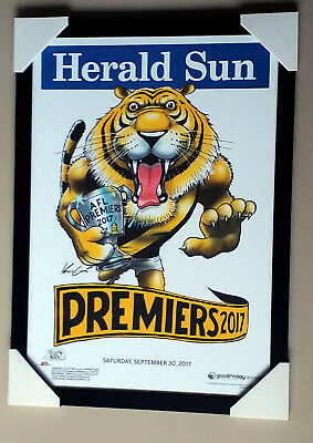 RICHMOND TIGERS 2017 AFL PREMIERSHIP HERALD SUN WEG framed POSTER