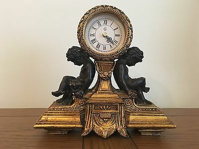 Antique Gold coloured Cherub Mantel Clock Reproduction