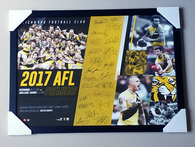 "RICHMOND TIGERS ""AFL 2017 PREMIERS FRAMED Poster"" Martin, Cotchin, jack, dylan"