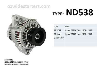 Honda alternator suit BF200 and BF225 from 2002 - 2014
