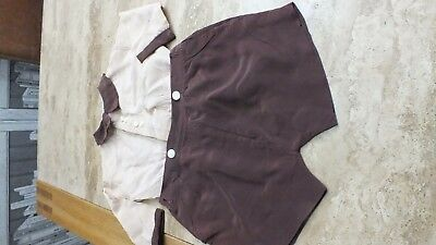 Vintage Old Childrens Boys Romper Suit Top And Shorts Beige & Brown Museum Prop