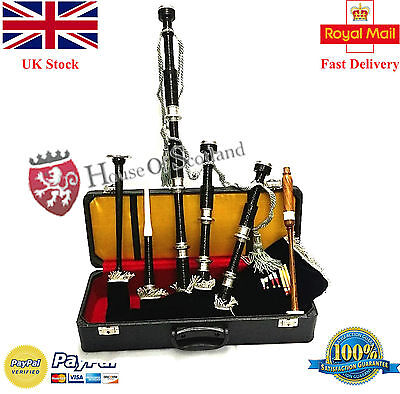 Great Highland Bagpipe Full Size Black Finish Silver Mounts With Tutor Book