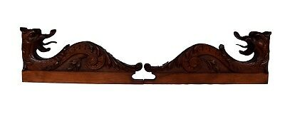 French Antique PAIR of Hand Carved Walnut Wood Griffin Furniture Support - Chime