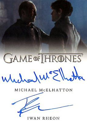Game Of Thrones Valyrian Steel DUAL AUTOGRAPH card MCELHATTON & IWAN RHEON
