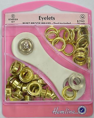 Hemline Eyelet Kit size 8.7mm /24 Sets in pack /Rust Proof Brass /Tool Included