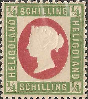 UN-USED 1873 HELIGOLAND 1/4 Schilling STAMP British Empire COLONY Green Frame