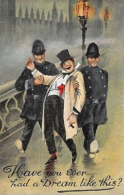 POSTCARD  COMIC    Policeman   Drunk  Related  Houses of  Parliament