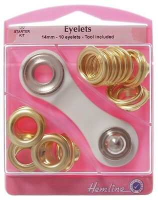 Hemline Eyelet Kit size 14mm /10 Sets in pack / Rust Proof Brass / Tool Included
