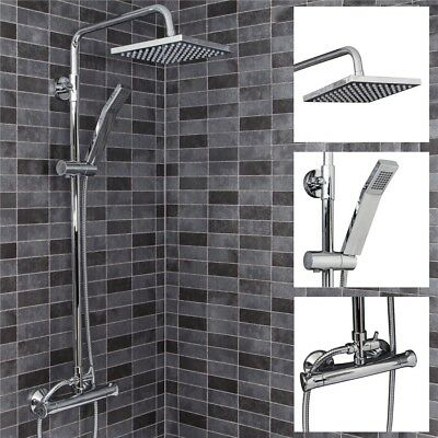Bathroom Thermostatic Mixer Shower Set Square Chrome Twin Head & Exposed Valve