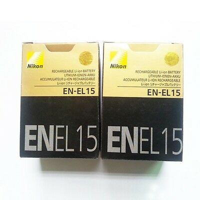 Two (2x) EN-EL15 Battery For Nikon D7000 D800 D800E D7000 D600 MB-D11/D12 J16