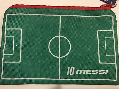 NEW! Lionel MESSI Pencil Case Soccer Football Field Green Barcelona