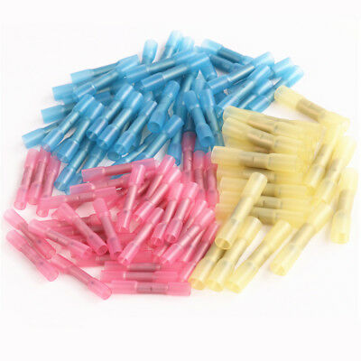 100PCS Heat Shrink Butt Splice Connector Electrical Crimp Waterproof Terminals