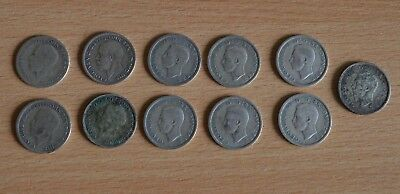 11 x Pre-47  sixpences of George V and George VI mixed dates.