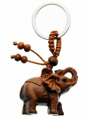 Elephant Key Ring Lucky Fob With Trunk Up Indian Elephant Wood Keyring In Packet