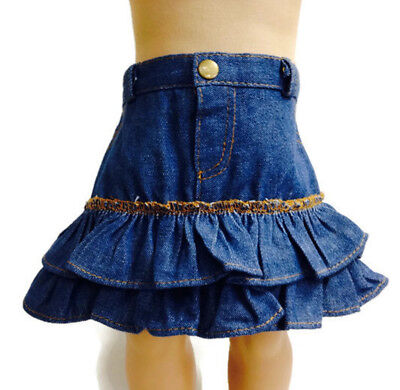 Denim Ruffled Jean Skirt made for 18 inch American Girl Doll Clothes