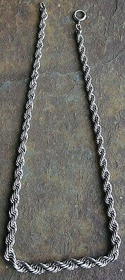 Vintage Sterling Silver Twisted Braids Necklace  39.35 Grams