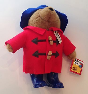 11 Inch Plush Paddington Bear 2005 Red Coat Blue Hat Blue Rain Boots