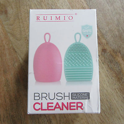 RUIMIO - Make-up Brush Cleaner - 2 Pack - Silicone Egg - Pink & Mint Green