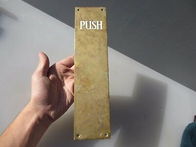 Vintage Brass Finger Plate Push Door Handle Antique Enamel Edwardian - Art Deco