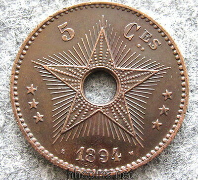 Congo Free State Leopold Ii 1894 5 Centimes