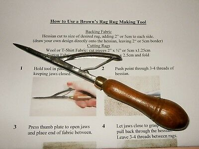 Vintage Brown's Rag/Peg/Pegging Rug Making Tool + Instructions