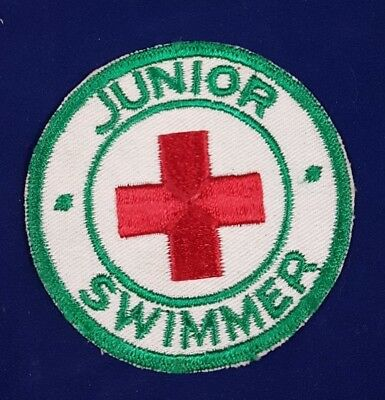 Vintage Red Cross Junior Swimmer Badge Green and Red Round Swimming